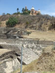 Ruins and church at the pyramid of Cholula - Cholula, Puebla, Mexico
