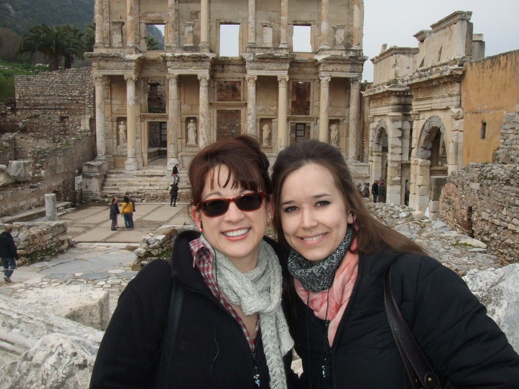 My cousin and I in front the library in Ephesus