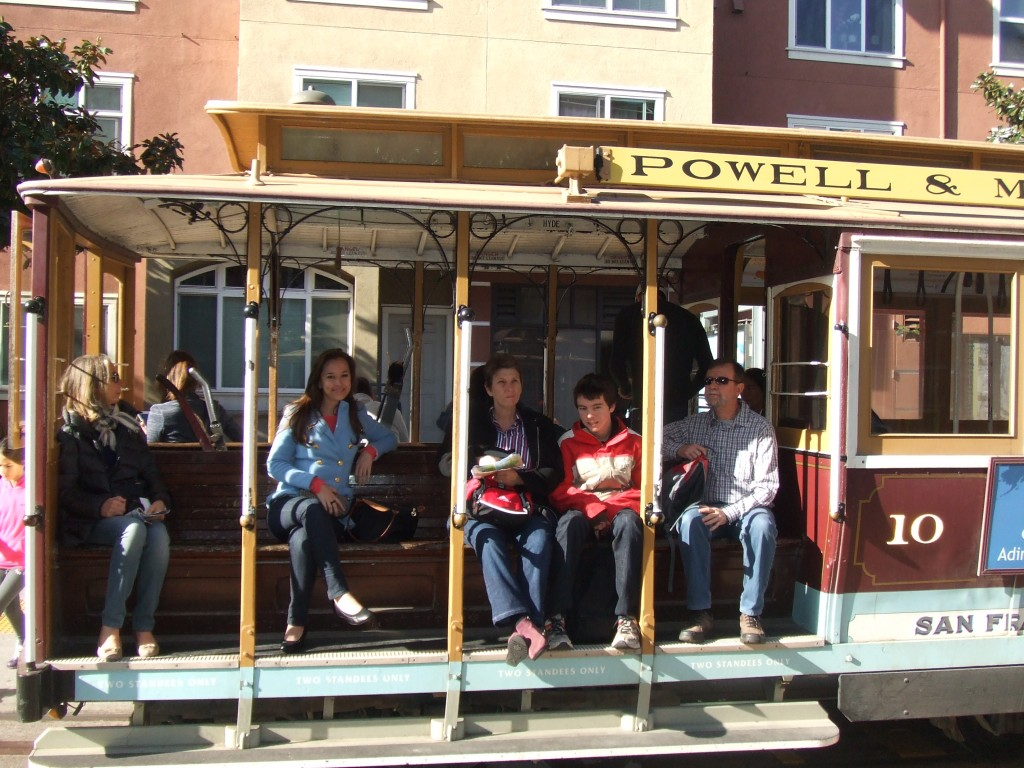 Riding the trolley car in San Francisco