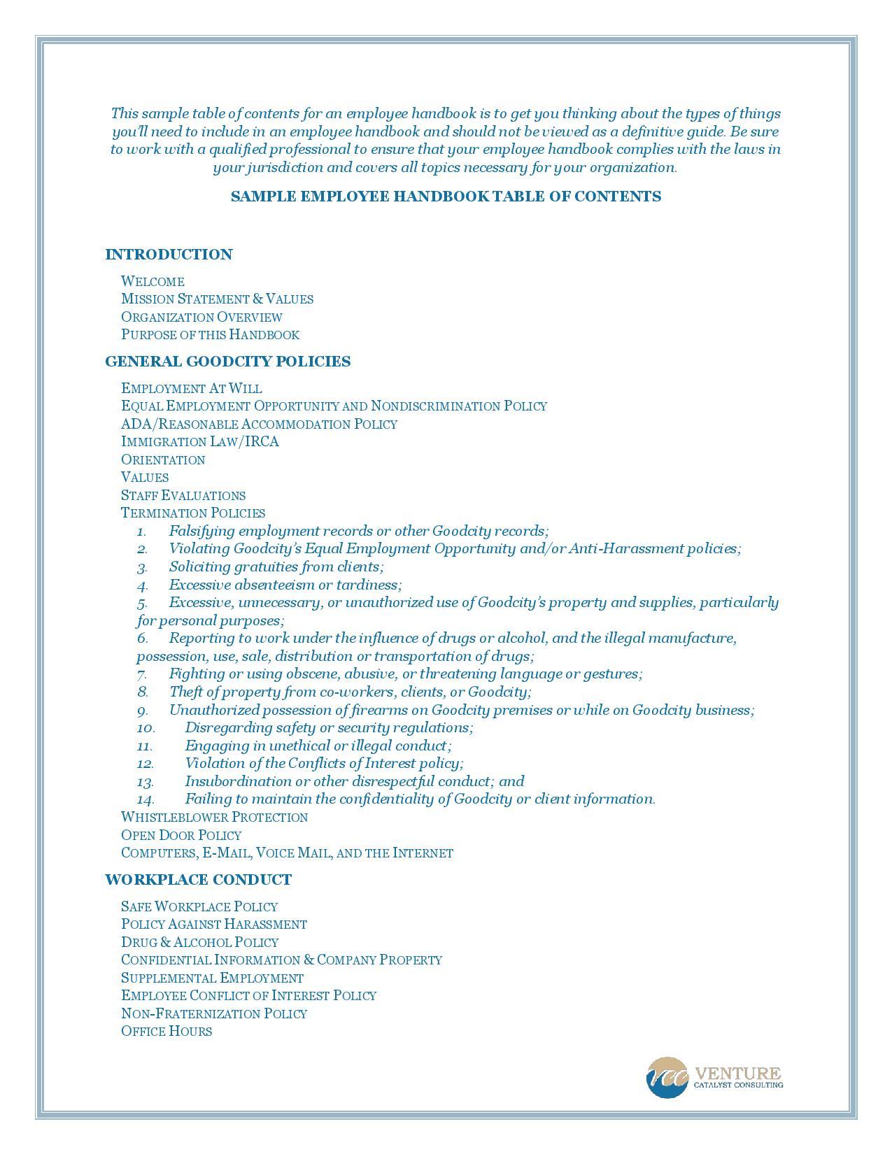 employee handbook nondiscrimination section